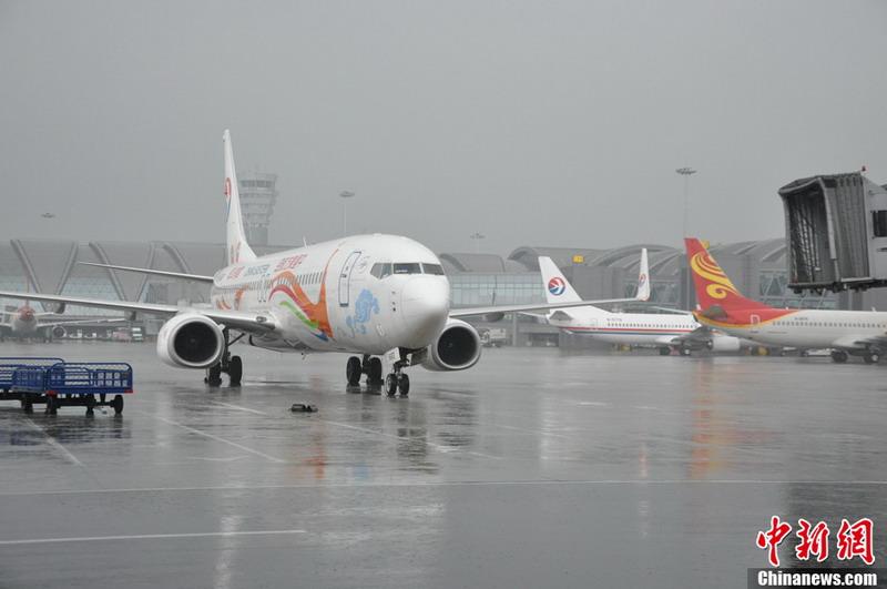 7月9日成都机场再次遭遇极端天气,这是成都机场在今年入夏以来所遭遇的第6场雷雨,也是持续时间最长的一次。截至上午11:30,已导致21个进港航班不能准点到达,分别备降绵阳、南充等周边机场,有2个航班被取消,造成了20个出港航班被延误,大约有4000名出行旅客被迫滞留机场。中新社发 吕俊明 摄