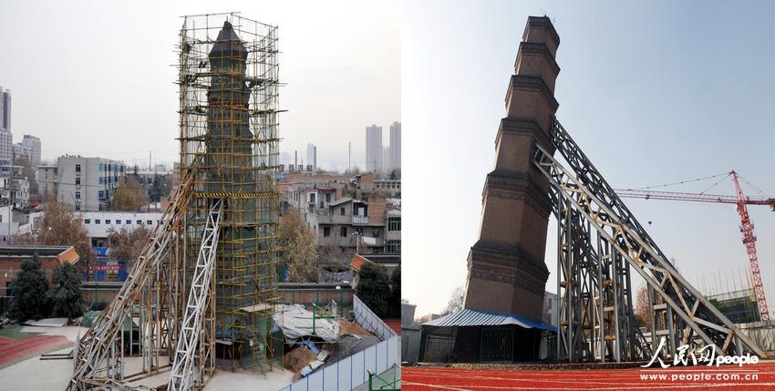 左图:2013年12月14日,陕西西安,矫正后的万寿寺塔