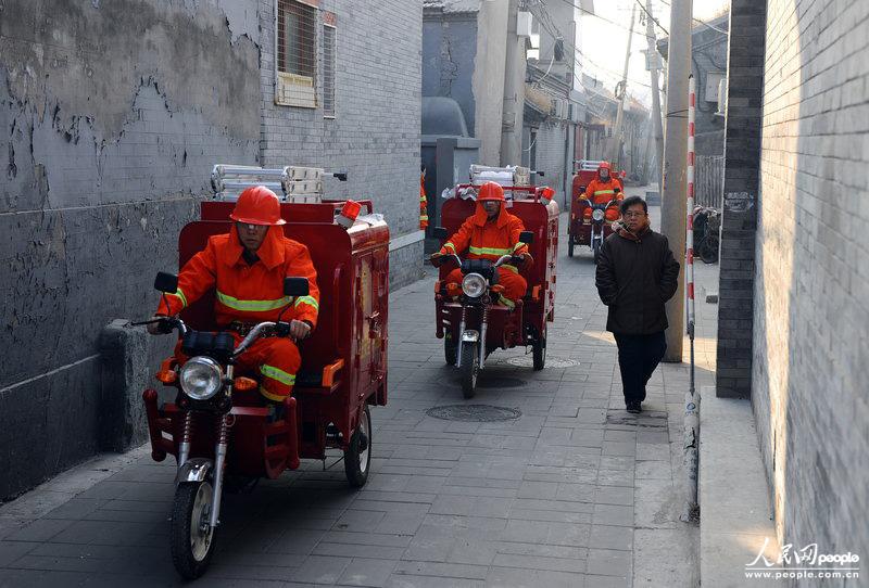 北京胡同启用消防三轮车+