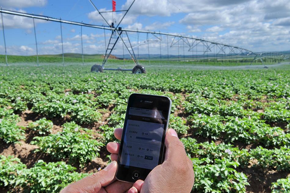 河北坝上农民用手机遥控农田灌溉
