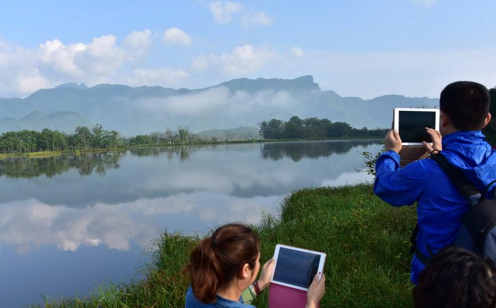 7月13日,游客在神农架大九湖高山湿地游览拍照。