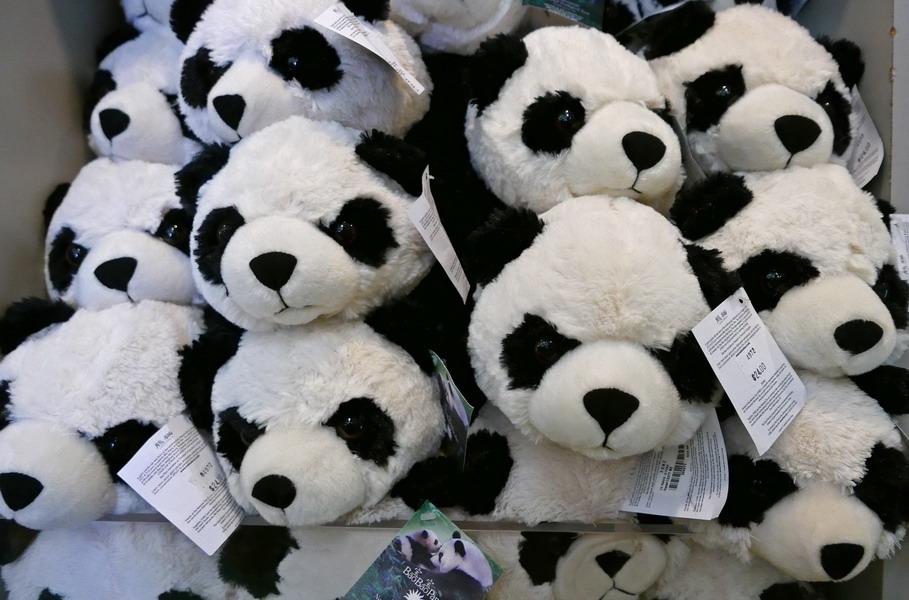 这是8月27日在美国华盛顿国家动物园的纪念品商店里拍摄的熊猫造型的