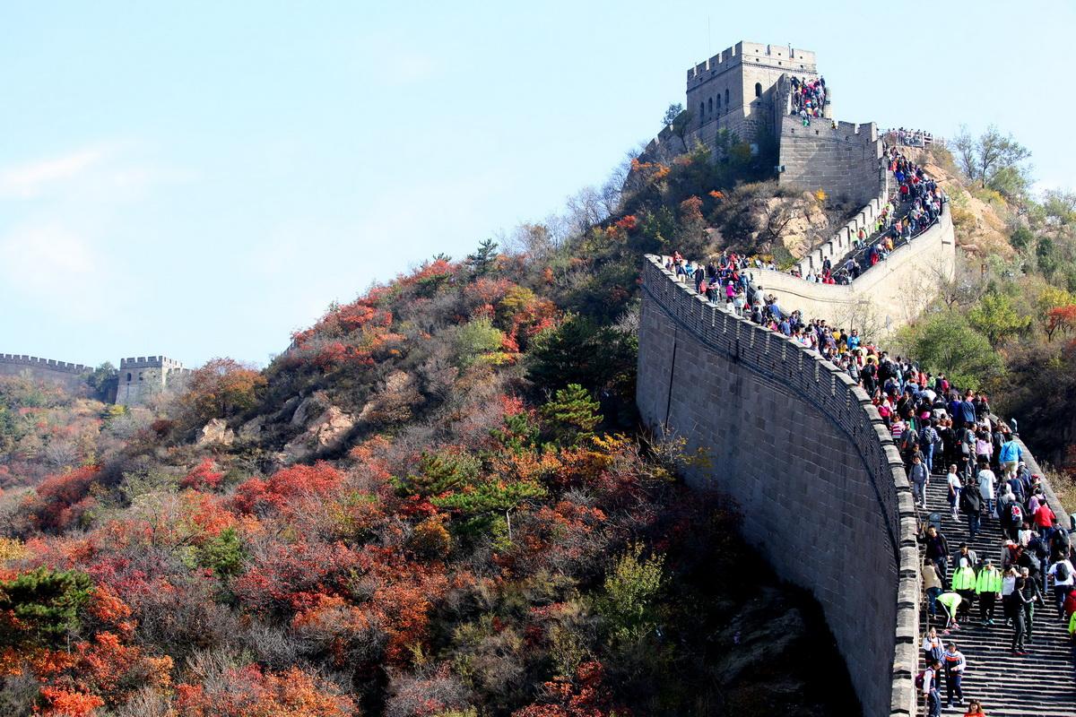 10月23日,北京,八达岭长城风景区的红叶呈现出美丽的秋色,随图片