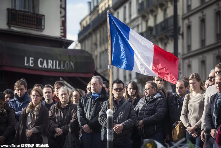 法国举国上下为巴黎恐袭案遇难者默哀