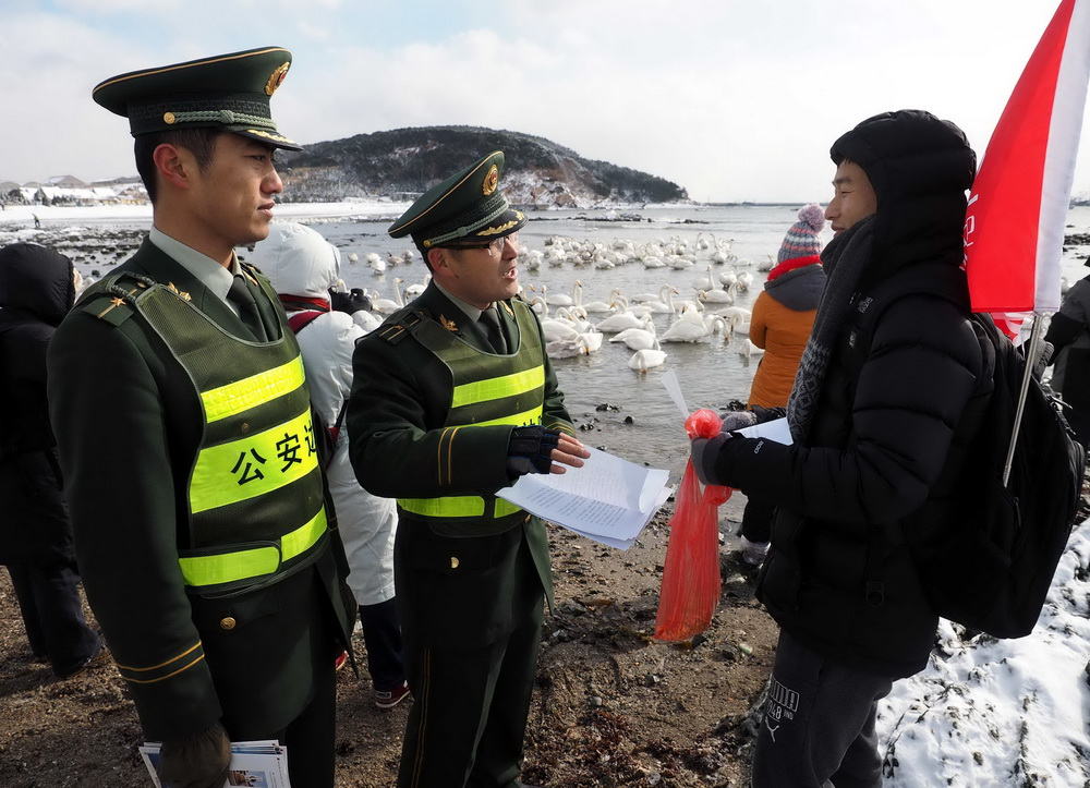 1月19日,俚岛边防派出所民警向游客讲解大天鹅的习性,倡导文明观赏。新华社记者 朱峥 摄