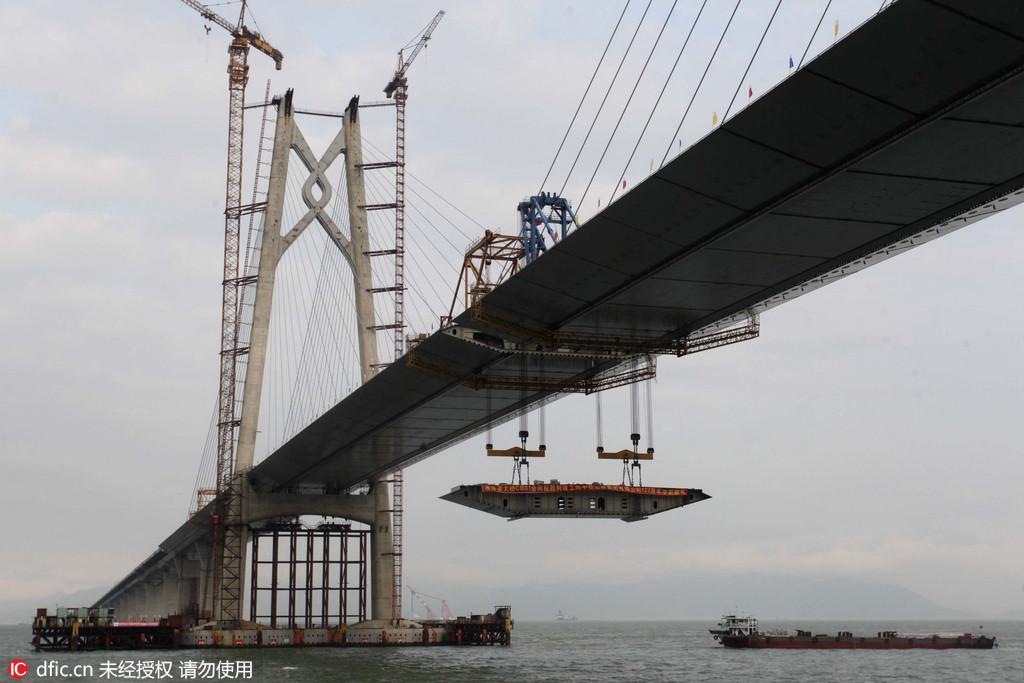 港珠澳大桥主桥最大跨径青州航道桥顺利合龙
