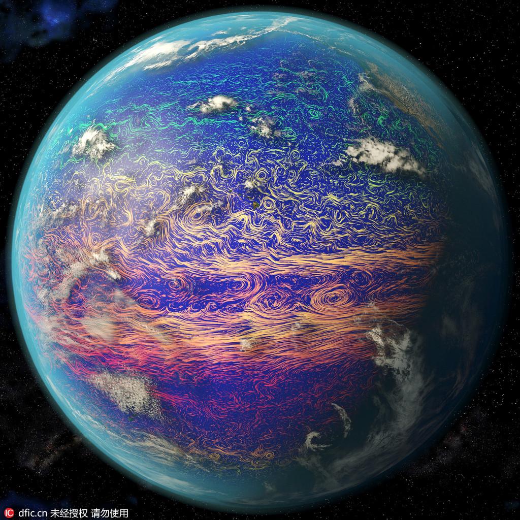 卫星图片展示洋流温度变化 美若梵高星空画作