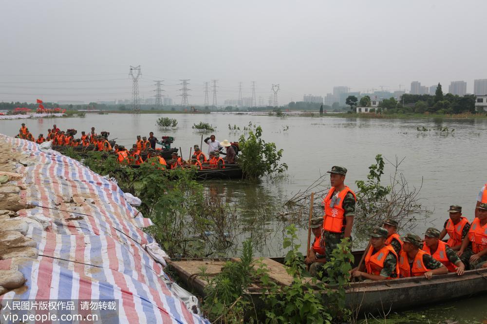 合肥:武警官兵异地取土紧急加固瑚琏圩大堤
