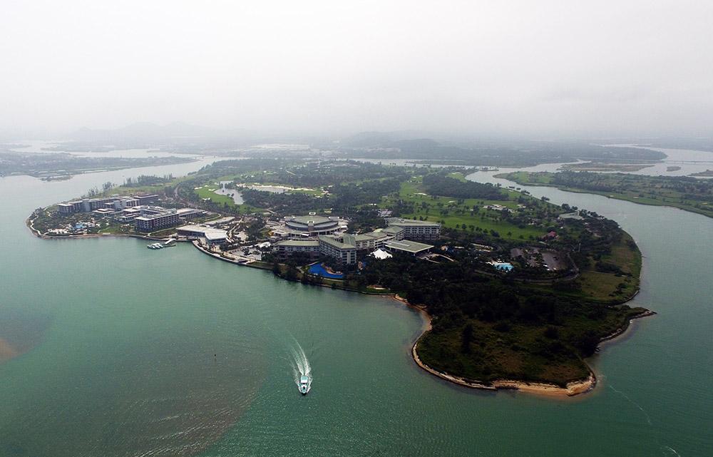 琼海市博鳌镇东屿岛(3月15日摄).博鳌亚洲论坛将在这里举办.