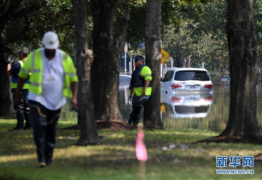 9月1日,在美国得克萨斯州休斯敦西部郊区,一辆汽车停在被洪水淹没的街道上。