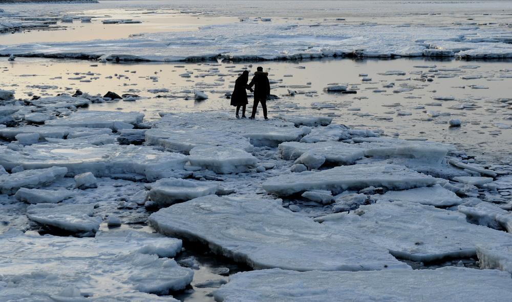 1月6日,游客在渤海大连夏家河子海域的海冰上游玩。