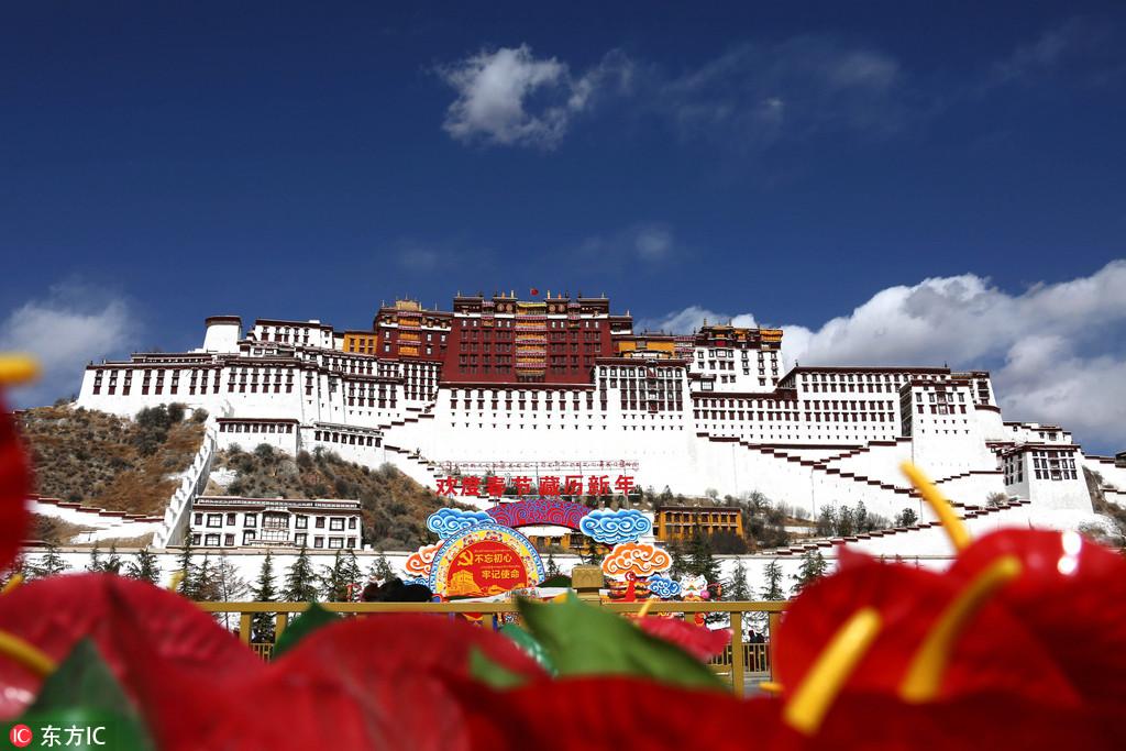 2月10日,布达拉宫广场摆满鲜花和绿色盆景庆祝春节和藏历新年。