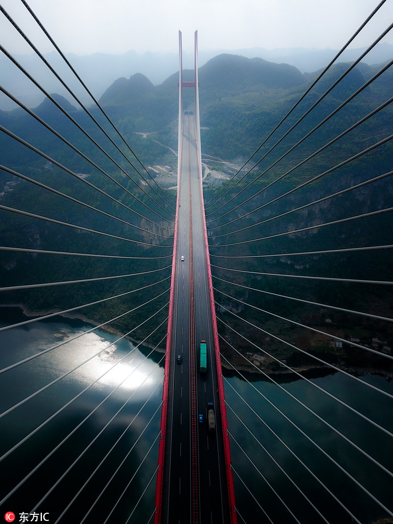 震撼航拍世界跨径最大钢桁梁斜拉桥——鸭池河大桥