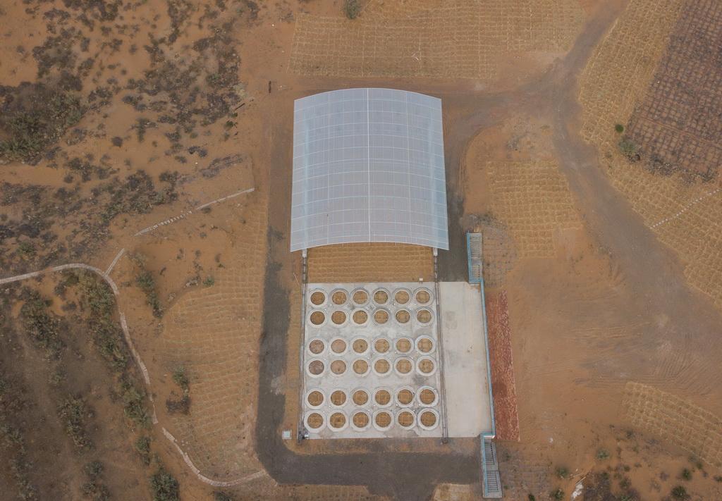 5月12日无人机拍摄的水量平衡自动模拟监测系统蒸渗仪群。 新华社记者 金立旺 摄