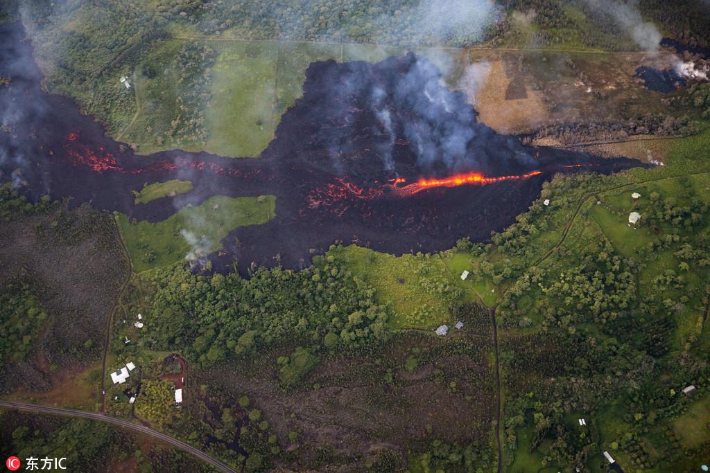 夏威夷基拉韦厄火山持续喷发 裂缝增至18道