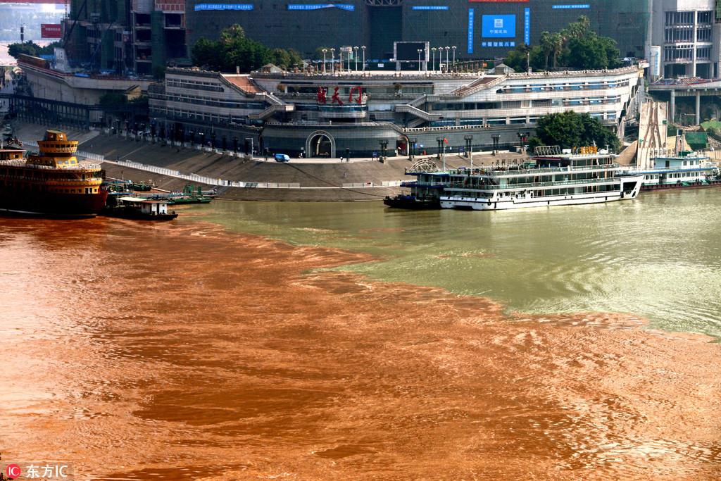 """月13日,重庆朝天门港的长江、嘉陵江交汇处出现""""阴阳水""""自图片"""