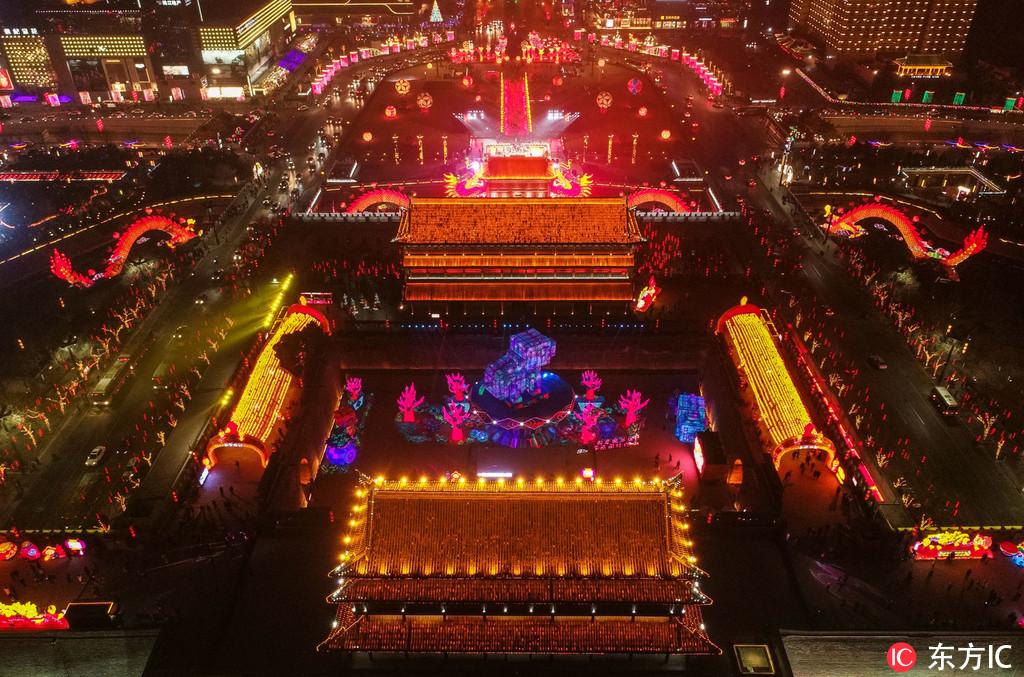 亮,向世界邀约中国年!西安城墙新春灯会亮灯仪式在永宁门庆典
