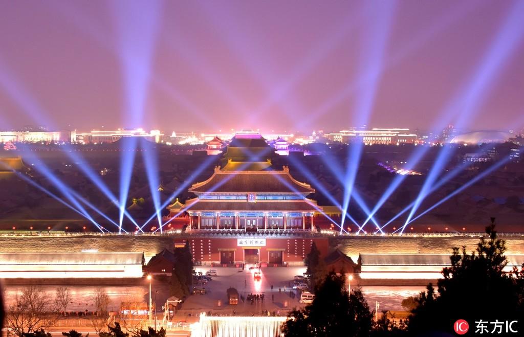 2月18日晚,故宫神武门流光溢彩。北马/东方IC