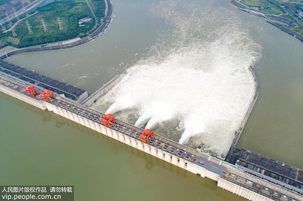 6月23日,在湖北省宜昌市秭归县,长江三峡枢纽开启四个泄洪深孔泄洪(无人机拍摄)。