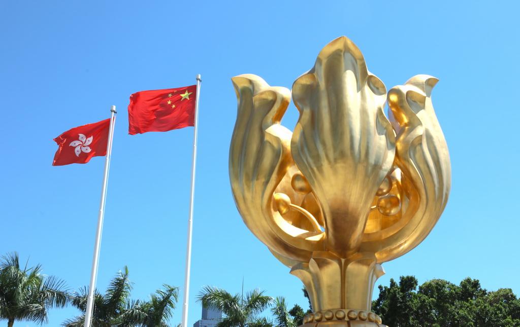 五星红旗在香港高高飘扬