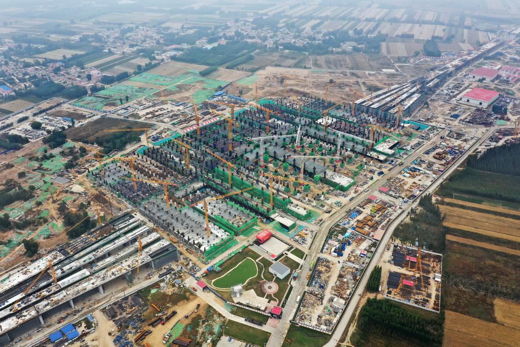 建設中的雄安站(10月10日無人機拍攝)。