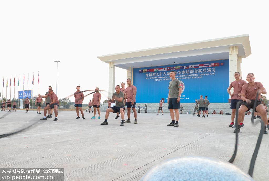 东盟防长扩大会反恐专家组联合实兵演习中泰两国参演兵力预先训练掠影