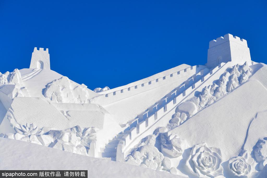 長春凈月雪世界揭開神秘面紗 題雪雕長達百米