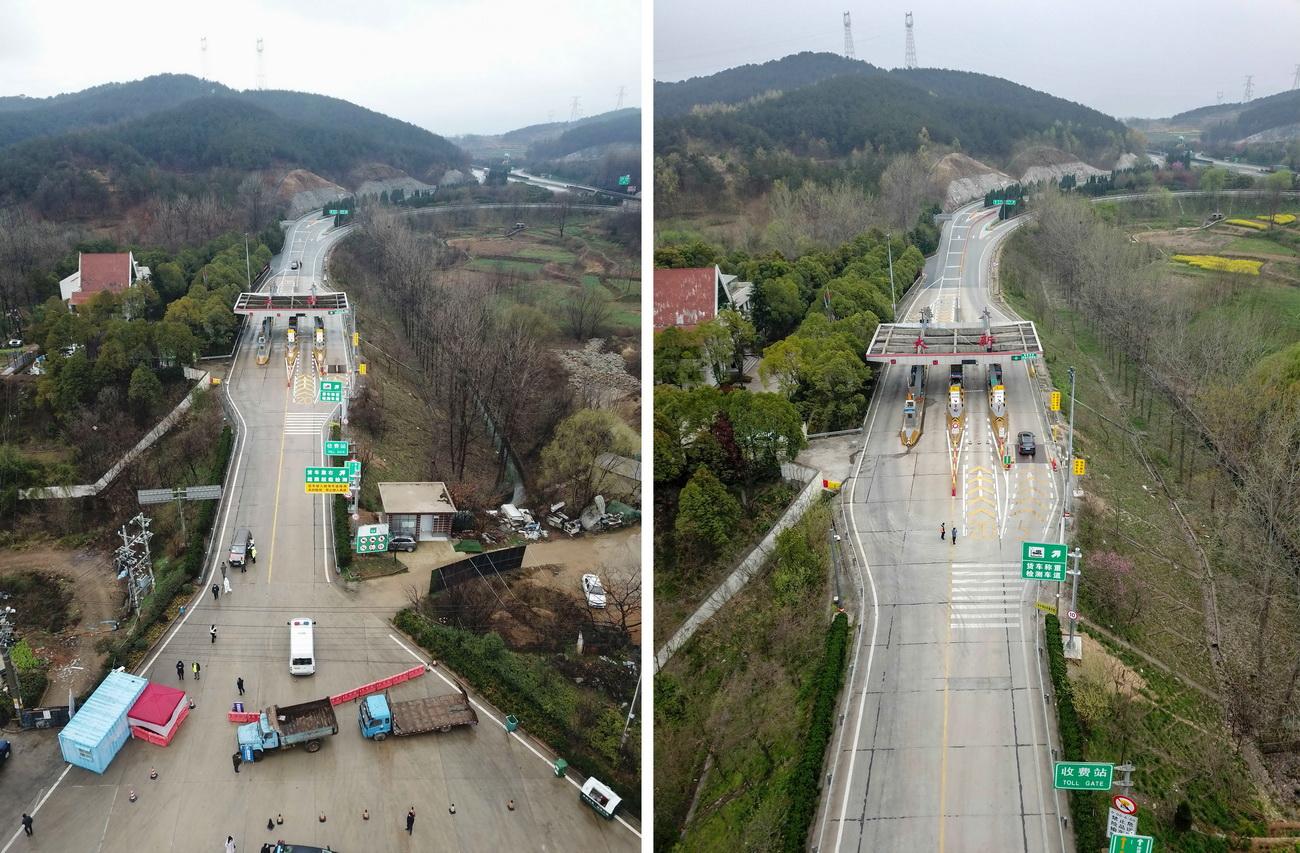 拼版照片:左图为解除管控措施之前的京港澳高速大新出入口(无人机照片,2月28日摄);右图为3月25日拍摄的京港澳高速大新出入口(无人机照片)。