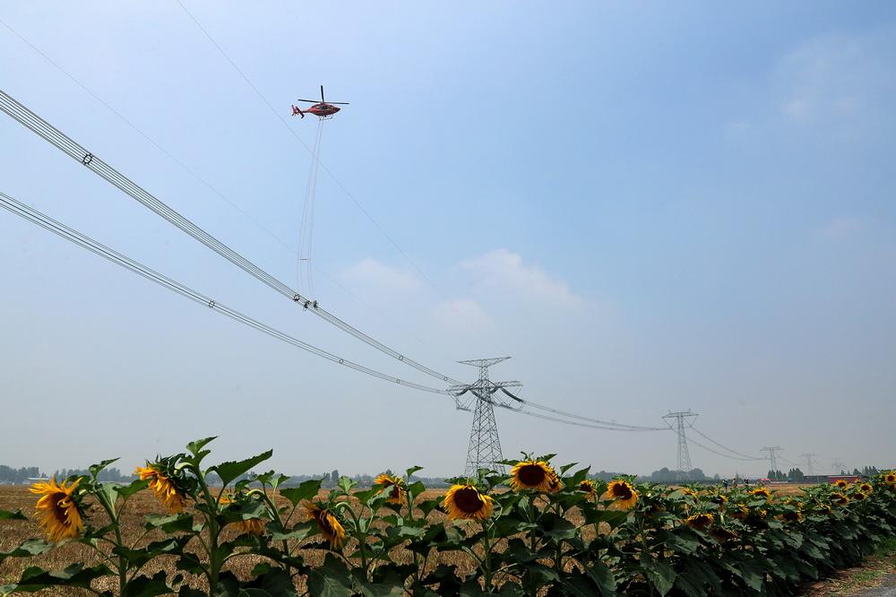 """6月18日,直升机用吊篮把两名检修人员""""吊""""到有缺陷的特高压线路上。"""