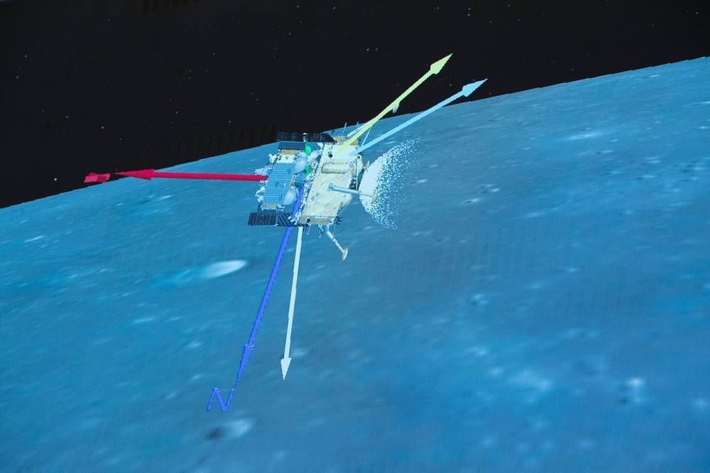 12月1日,在北京航天飞行控制中心拍摄的嫦娥五号探测器落月过程。新华社记者 金立旺 摄