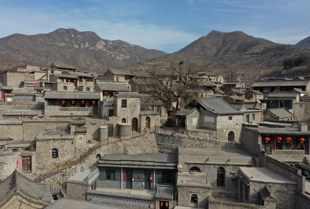 2月21日拍摄的井陉县南障城镇大梁江村(无人机照片)。
