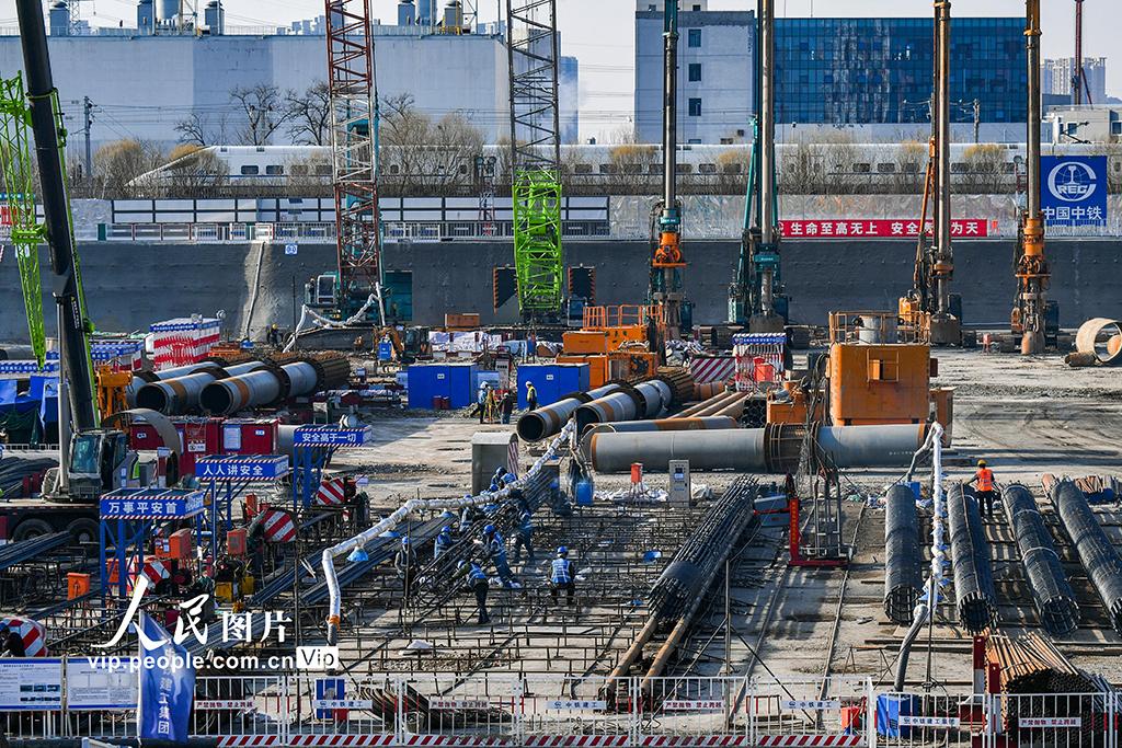 2021年2月19日,北京城市副中心站综合交通枢纽施工现场。
