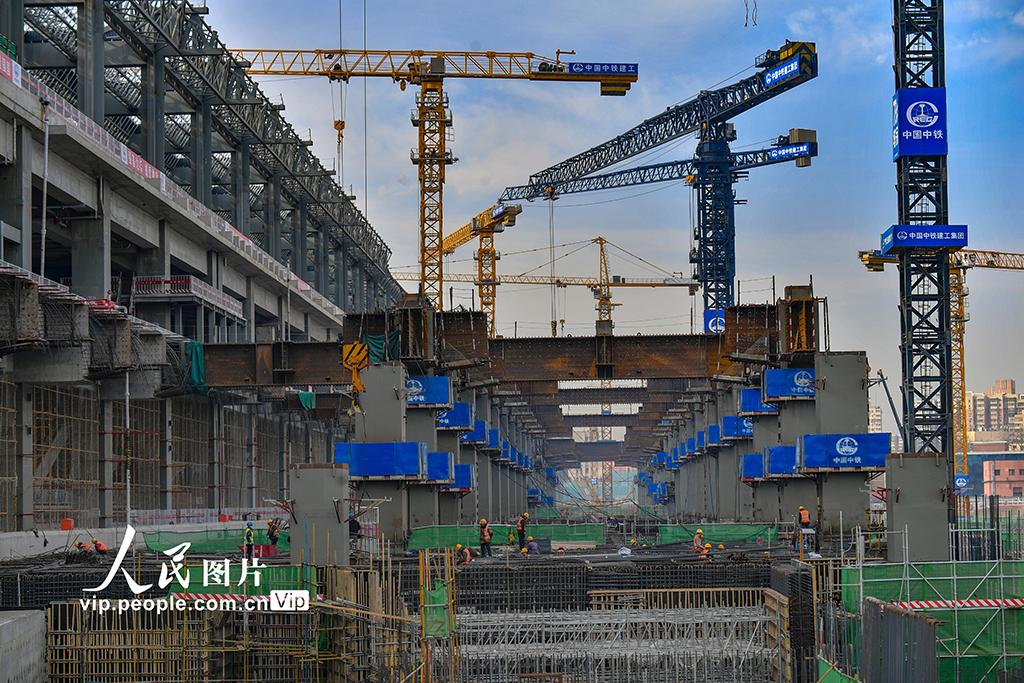 2021年2月20日,丰台火车站改建工程现场。