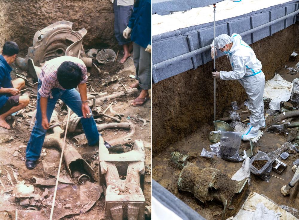"""这是一张拼版图片:左图为1986年,考古人员用传统的测量工具在三星堆遗址考古发掘现场工作(考古学家陈德安供图);右图为3月10日,在三星堆遗址考古发掘现场3号""""祭祀坑"""",考古人员用全站仪为新发现的文物定位(新华社记者 沈伯韩 摄)。"""