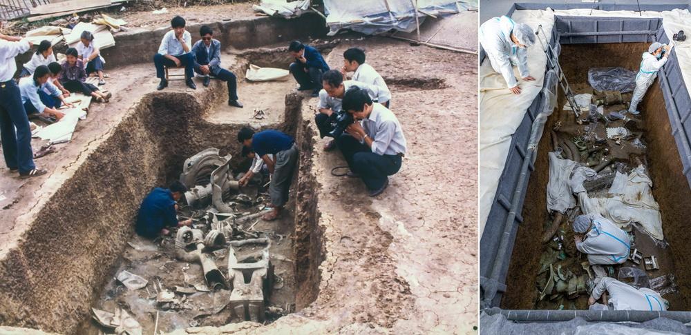 """这是一张拼版图片:左图为1986年,工作人员在三星堆遗址考古发掘现场2号""""祭祀坑""""内清理文物(考古学家陈德安供图);右图为3月10日,在三星堆遗址考古发掘现场,考古人员在3号""""祭祀坑""""内工作(新华社记者 沈伯韩 摄)。"""