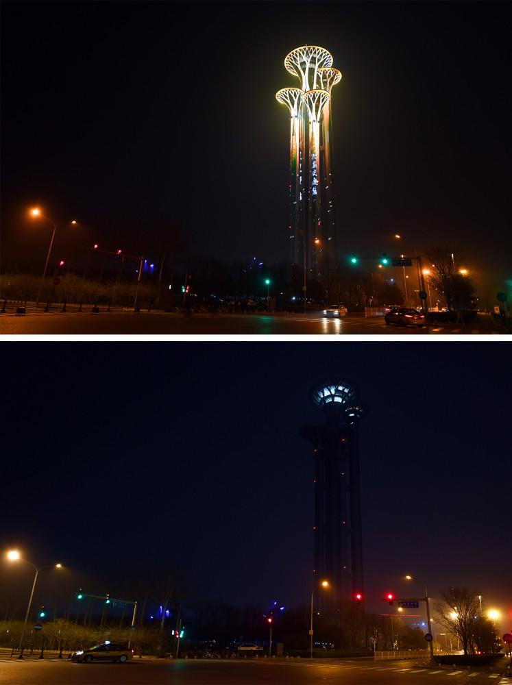 这是一张拼版照片:3月27日拍摄的熄灯前后的北京奥林匹克塔等建筑的对比。新华社记者 任超 摄
