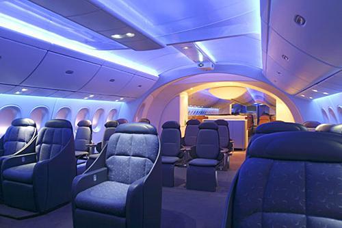 波音787梦想飞机舱内情况.(来源:波音中国网站)