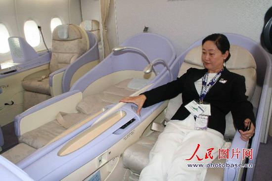 空中客车a380飞机 上海展示客舱内饰