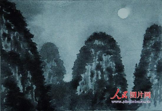 東山先生的素描《桂林之月》版權作品