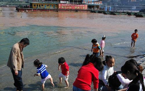 11月8日,重庆市民在朝天门港长江边观赏江景 .-长江出现罕见冬汛 图片