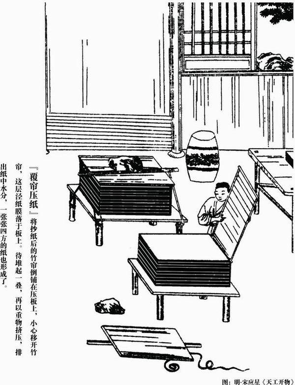 古法造纸可分五个步骤:   1、斩竹漂塘   所谓杀青是指斩竹做原料而得名,竹材是古代造纸的重要来源之一,因此盛产竹子的华南地区,尤其福建,是竹纸的主要产地,造纸的竹材以将生枝叶的新生竹为佳。造纸的工匠通常在芒种前后上山砍竹,每根竹子截成5到7尺长,然后就地开挖水塘,将截断的竹子在水塘内浸上100天,取出时用力捶洗使青壳和树皮脱掉,目的是让竹材软化。   19世纪造纸的材料来源由破布转为木材,因为木材容易取得,成本也较低。但由于木材纤维是由木质素所组成,木质素会氧化,这就是纸张泛黄的原因,这个问题又