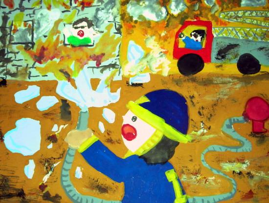 这是我的作品,我的梦想是当一名消防员(2008年摄).