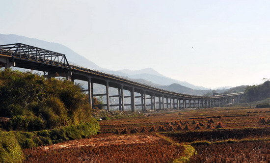 横跨广东封开的运输长皮带廊加紧建设 (2)
