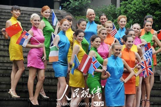 """""""国际海洋小姐""""古装旗袍游桃花岛 (4)"""