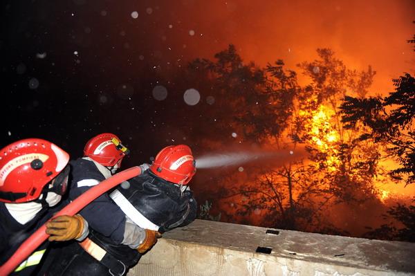 8月31日,在法国南部城市泰朗附近,消防员在灭火.
