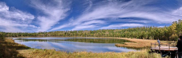 近日,随着气温下降,大兴安岭深处的阿尔山地区秋意渐浓,森林披上金色、红色的多彩外衣,吸引大批游客前来观赏。阿尔山位于内蒙古大兴安岭西南麓,境内拥有大量火山地貌、天池和多种多样的树木和植物,是我国北方重点旅游地区之一。2009年,阿尔山市先后接待中外游客超过100万人次。 新华社记者