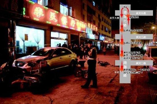 任忱远/28日晚,肇事车连续多次碰撞后,在一家饭店门口停下。任忱远...